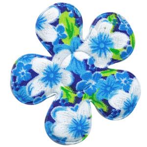 Applicatie bloem aqua met zomerse bloem katoen groot 45 mm (ca. 100 stuks)