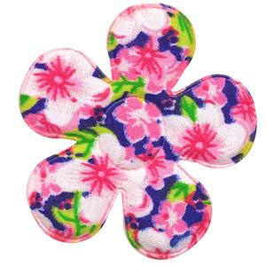 Applicatie bloem roze met zomerse bloem katoen groot 45 mm (ca. 100 stuks)