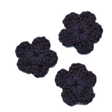 Gehaakt bloemetje donker blauw 20 mm (10 stuks)