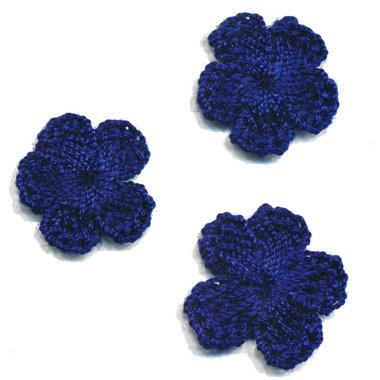 Gehaakt bloemetje kobalt blauw 20 mm (10 stuks)