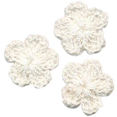 Gehaakt bloemetje gebroken wit 20 mm (10 stuks)