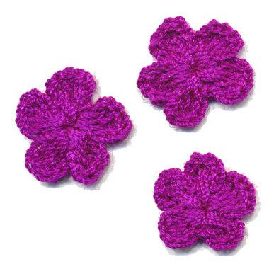 Gehaakt bloemetje paars 20 mm (10 stuks)