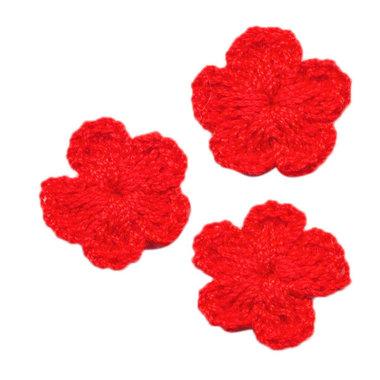 Gehaakt bloemetje rood 20 mm (10 stuks)