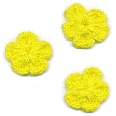 Gehaakt bloemetje knal geel 20 mm (10 stuks)