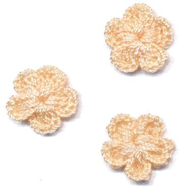 Gehaakt bloemetje beige 20 mm (10 stuks)