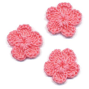 Gehaakt bloemetje oud roze 20 mm (10 stuks)
