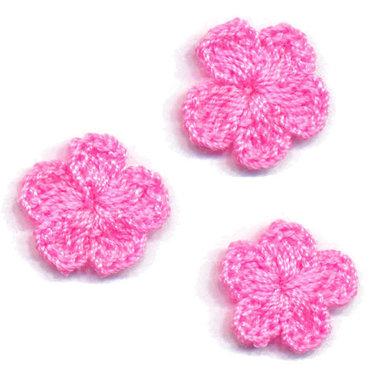 Gehaakt bloemetje roze 20 mm (10 stuks)