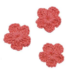 Gehaakt bloemetje oud roze/paars 20 mm (10 stuks)