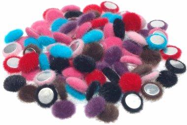 Flatback 'harig' mix kleuren 15 mm (ca. 100 stuks)