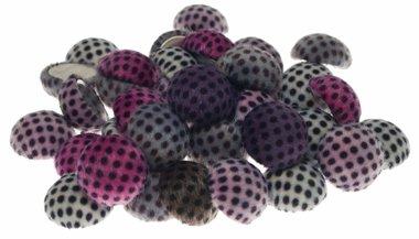 Flatback 'harig' met stippen mix kleuren 30 mm (ca. 25 stuks)