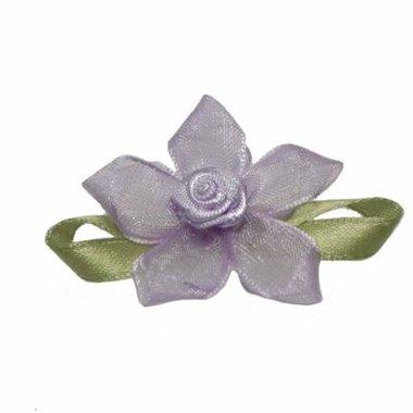 Roosje satijn lila op lila organza bloem 50 mm (10 stuks)