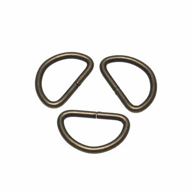 Metalen D-ring bronskleurig 25 mm (ca. 25 stuks)