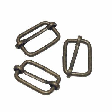 Metalen schuifgesp bronskleurig 25 mm (10 stuks)