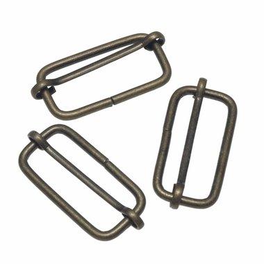 Metalen schuifgesp bronskleurig 38 mm (10 stuks)