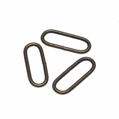 Metalen passant met ronde hoeken bronskleurig 30 mm (ca. 25 stuks)