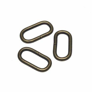 Metalen passant met ronde hoeken bronskleurig ZWAAR 25 mm (ca. 25 stuks)