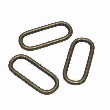 Metalen passant met ronde hoeken bronskleurig ZWAAR 38 mm (ca. 25 stuks)