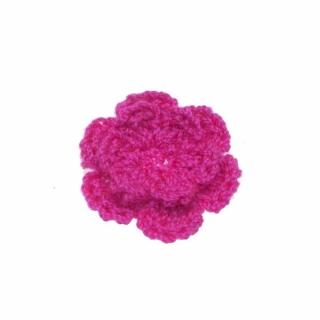 Gehaakt roosje fuchsia 25 mm (10 stuks)