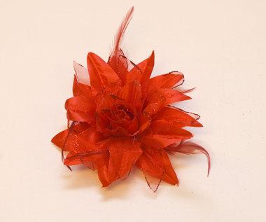 Bloem XL stof met veertjes rood ca. 13 cm (5 stuks)