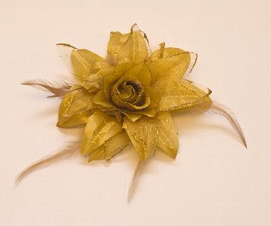 Bloem XL stof met veertjes goud ca. 13 cm (5 stuks)