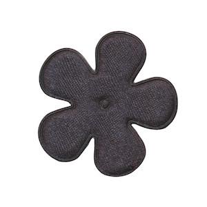 Applicatie bloem heel donker grijs satijn effen middel 35 mm (ca. 25 stuks)