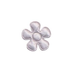 Applicatie bloem zilvergrijs satijn effen klein 20 mm (ca. 25 stuks)