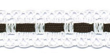 Wit kant met zwart ingevlochten bandje 25 mm (ca. 16 meter)