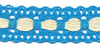 Aqua blauw kant met creme ingevlochten bandje 25 mm (ca. 16 meter)