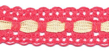 Oud roze kant met creme ingevlochten bandje 25 mm (ca. 16 meter)