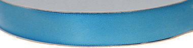 Licht blauw dubbelzijdig satijnband 15 mm (ca. 30 m)