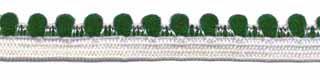 Wit-groen elastiek met bolletjes sierrand 12 mm (ca. 10 meter)