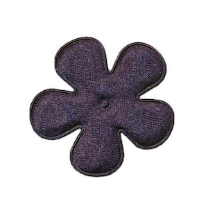 Applicatie bloem donker blauw satijn effen middel 35 mm (ca. 25 stuks)