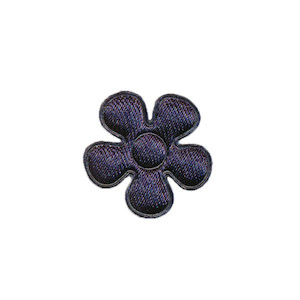 Applicatie bloem donker blauw satijn effen klein 20 mm (ca. 100 stuks)