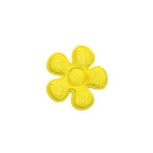 Applicatie bloem geel satijn effen klein 20 mm (ca. 25 stuks)