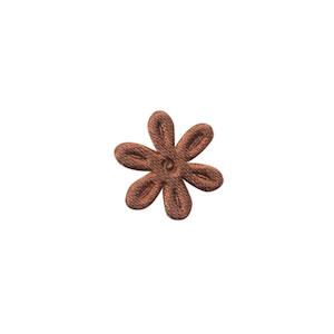 Applicatie bloem bruin satijn effen mini 18 mm (ca. 100 stuks)