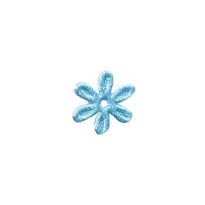 Applicatie bloem licht blauw satijn effen mini 18 mm (ca. 100 stuks)