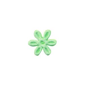 Applicatie bloem mintgroen satijn effen mini 18 mm (ca. 100 stuks)
