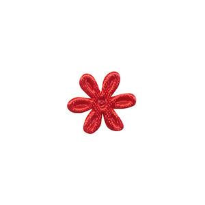 Applicatie bloem rood satijn effen mini 18 mm (ca. 100 stuks)