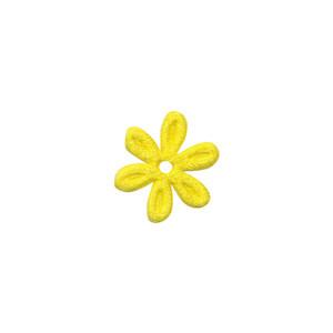 Applicatie bloem geel satijn effen mini 18 mm (ca. 100 stuks)