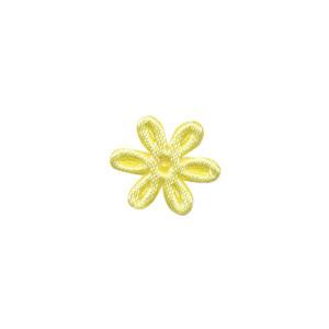Applicatie bloem zachtgeel satijn effen mini 18 mm (ca. 100 stuks)