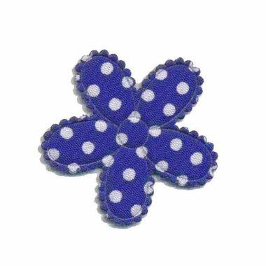 Applicatie bloem kobalt blauw met witte stippen katoen middel 30 mm (ca. 100 stuks)