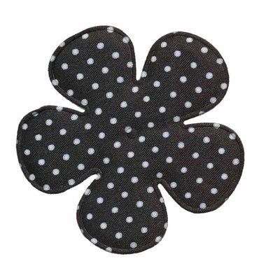 Applicatie bloem zwart met witte stippen satijn EXTRA GROOT 65 mm (ca. 100 stuks)