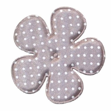 Applicatie bloem grijs met witte stippen satijn EXTRA GROOT 65 mm (ca. 100 stuks)