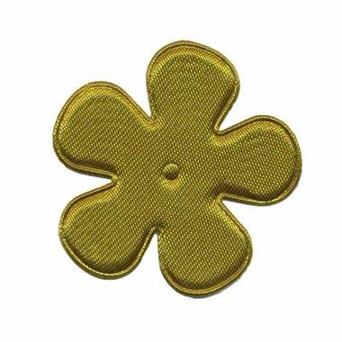 Applicatie bloem legergroen satijn effen middel 35 mm (ca. 100 stuks)