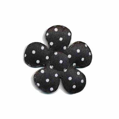 Applicatie bloem zwart met witte stippen satijn klein 27 mm (ca. 100 stuks)