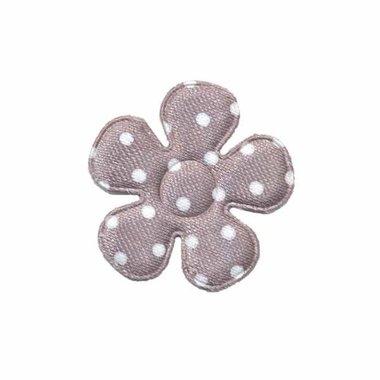 Applicatie bloem grijs met witte stippen satijn klein 27 mm (ca. 100 stuks)