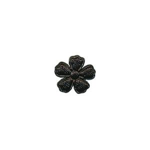 Applicatie bloem zwart satijn effen mini 15 mm (ca. 100 stuks)