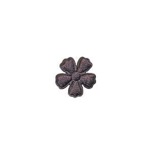 Applicatie bloem antraciet satijn effen mini 15 mm (ca. 100 stuks)