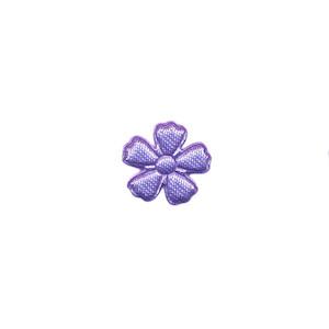 Applicatie bloem lila satijn effen mini 15 mm (ca. 100 stuks)