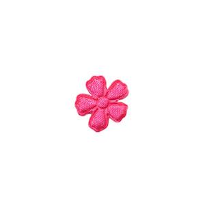 Applicatie bloem fuchsia satijn effen mini 15 mm (ca. 100 stuks)